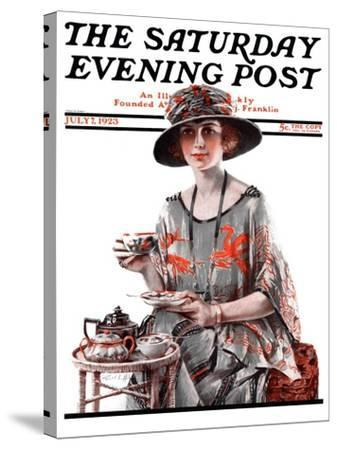 """Teatime,"" Saturday Evening Post Cover, July 7, 1923-Pearl L^ Hill-Stretched Canvas Print"