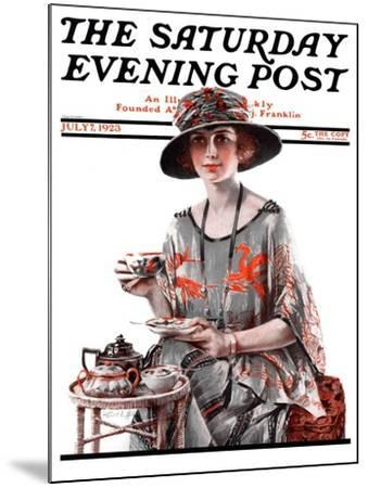 """Teatime,"" Saturday Evening Post Cover, July 7, 1923-Pearl L^ Hill-Mounted Giclee Print"