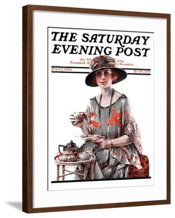 """Teatime,"" Saturday Evening Post Cover, July 7, 1923-Pearl L^ Hill-Framed Giclee Print"