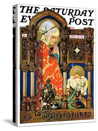 """""""Madonna and Child,"""" Saturday Evening Post Cover, December 22, 1928-Joseph Christian Leyendecker-Stretched Canvas Print"""