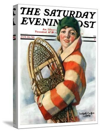 """""""Woman and Snowshoes,"""" Saturday Evening Post Cover, January 26, 1929-William Haskell Coffin-Stretched Canvas Print"""