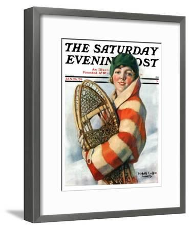 """""""Woman and Snowshoes,"""" Saturday Evening Post Cover, January 26, 1929-William Haskell Coffin-Framed Giclee Print"""