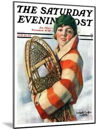 """""""Woman and Snowshoes,"""" Saturday Evening Post Cover, January 26, 1929-William Haskell Coffin-Mounted Giclee Print"""