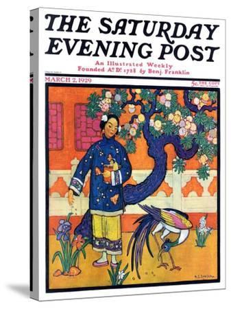 """Japanese Woman in Garden,"" Saturday Evening Post Cover, March 2, 1929-Henry Soulen-Stretched Canvas Print"