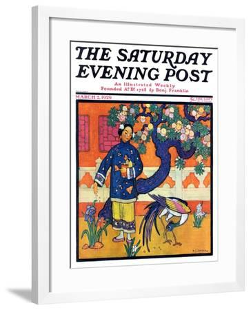 """Japanese Woman in Garden,"" Saturday Evening Post Cover, March 2, 1929-Henry Soulen-Framed Giclee Print"
