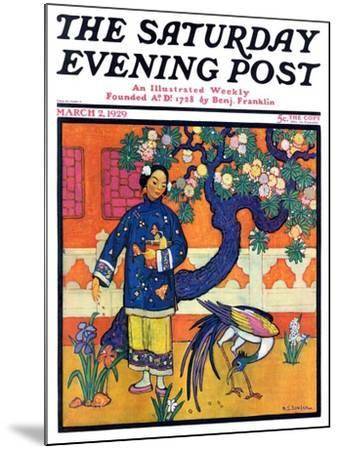 """Japanese Woman in Garden,"" Saturday Evening Post Cover, March 2, 1929-Henry Soulen-Mounted Giclee Print"
