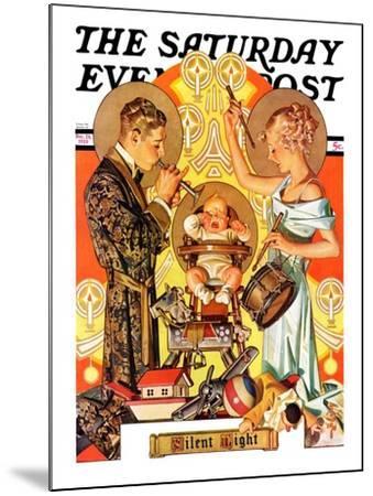 """Silent Night,"" Saturday Evening Post Cover, December 28, 1935-Joseph Christian Leyendecker-Mounted Giclee Print"