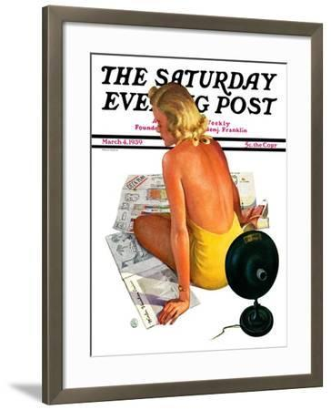 """Sunlamp,"" Saturday Evening Post Cover, March 4, 1939-Robert P. Archer-Framed Giclee Print"