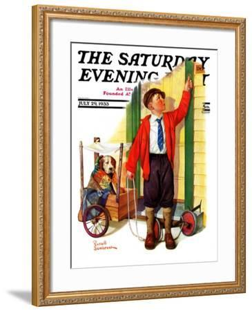 """""""Sick Pooch,"""" Saturday Evening Post Cover, July 29, 1933-Russell Sambrook-Framed Giclee Print"""