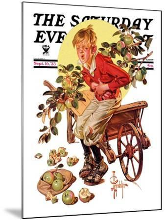 """""""Too Many Green Apples,"""" Saturday Evening Post Cover, September 16, 1933-Joseph Christian Leyendecker-Mounted Giclee Print"""