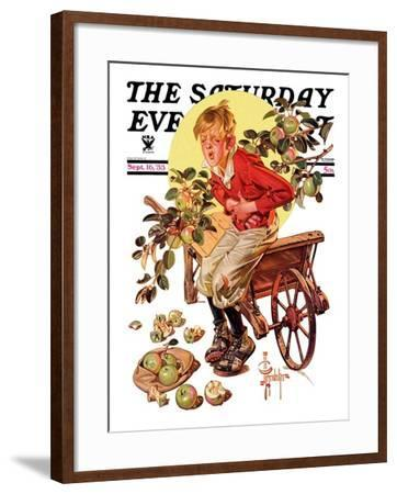 """Too Many Green Apples,"" Saturday Evening Post Cover, September 16, 1933-Joseph Christian Leyendecker-Framed Giclee Print"