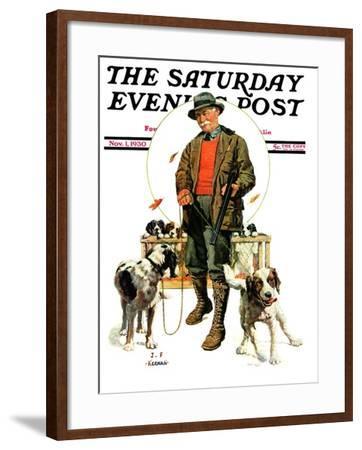 """Springer Spaniels,"" Saturday Evening Post Cover, November 1, 1930-J^F^ Kernan-Framed Giclee Print"