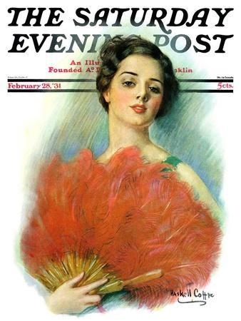 """""""Red Feathered Fan,"""" Saturday Evening Post Cover, February 28, 1931-William Haskell Coffin-Premium Giclee Print"""