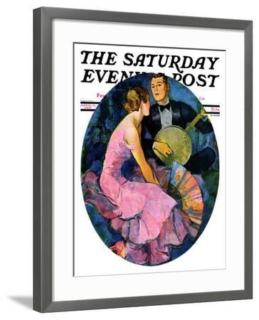 """""""Banjo Serenade,"""" Saturday Evening Post Cover, April 11, 1931-John LaGatta-Framed Giclee Print"""