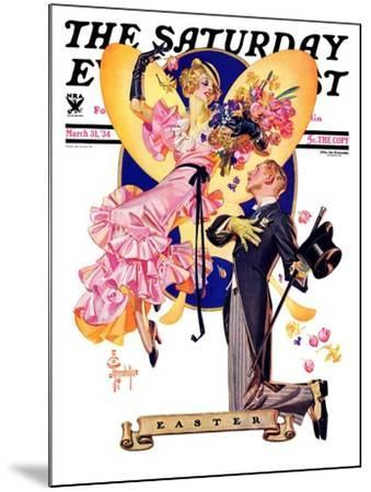 """""""Romantic Easter,"""" Saturday Evening Post Cover, March 31, 1934-Joseph Christian Leyendecker-Mounted Giclee Print"""