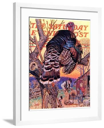 """Turkey in the Tree,"" Saturday Evening Post Cover, November 25, 1939-Joseph Christian Leyendecker-Framed Giclee Print"