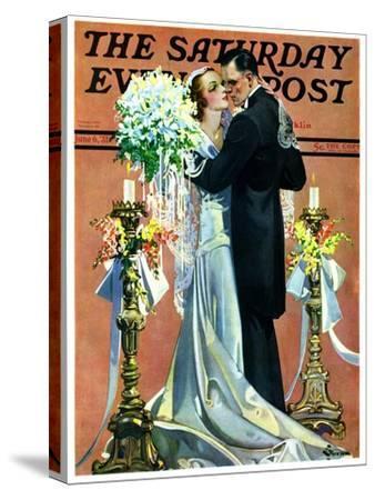 """Bridal Couple Dancing,"" Saturday Evening Post Cover, June 6, 1931-Elbert Mcgran Jackson-Stretched Canvas Print"