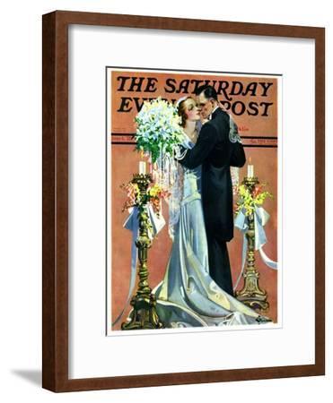"""Bridal Couple Dancing,"" Saturday Evening Post Cover, June 6, 1931-Elbert Mcgran Jackson-Framed Giclee Print"