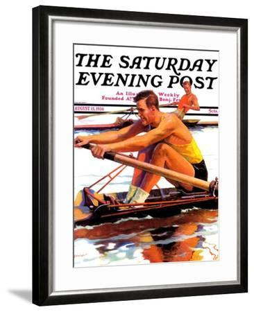 """""""Sculling Race,"""" Saturday Evening Post Cover, August 15, 1936-Maurice Bower-Framed Giclee Print"""