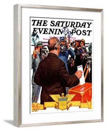 """Candidate Voting,"" Saturday Evening Post Cover, November 7, 1936-Edgar Franklin Wittmack-Framed Giclee Print"