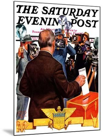 """""""Candidate Voting,"""" Saturday Evening Post Cover, November 7, 1936-Edgar Franklin Wittmack-Mounted Giclee Print"""
