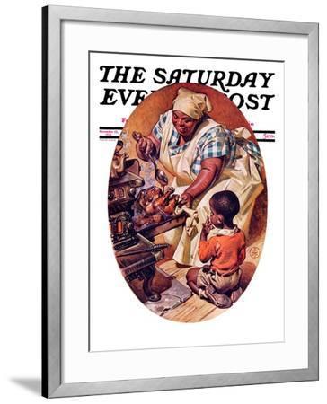 """Basting the Turkey,"" Saturday Evening Post Cover, November 28, 1936-Joseph Christian Leyendecker-Framed Giclee Print"