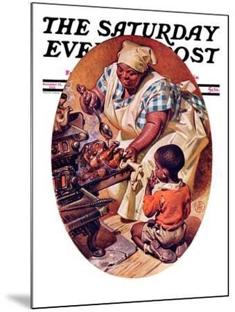 """Basting the Turkey,"" Saturday Evening Post Cover, November 28, 1936-Joseph Christian Leyendecker-Mounted Giclee Print"
