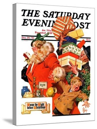 """'Night before Christmas',"" Saturday Evening Post Cover, December 26, 1936-Joseph Christian Leyendecker-Stretched Canvas Print"