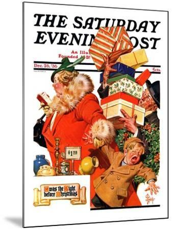 """'Night before Christmas',"" Saturday Evening Post Cover, December 26, 1936-Joseph Christian Leyendecker-Mounted Giclee Print"