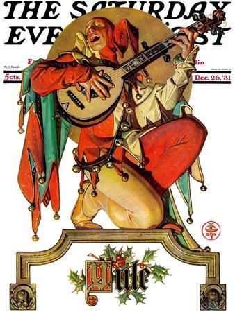 """Musical Jester,"" Saturday Evening Post Cover, December 26, 1931-Joseph Christian Leyendecker-Framed Giclee Print"