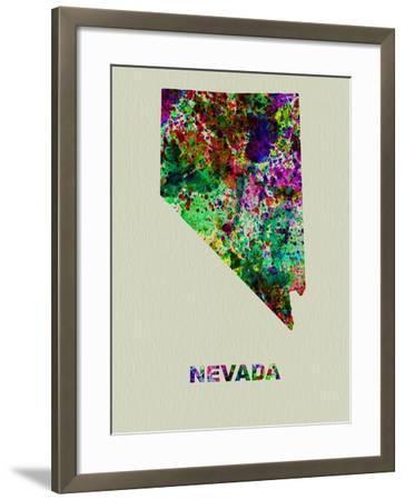 Nevada Color Splatter Map-NaxArt-Framed Art Print