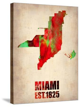 Miami Watercolor Map-NaxArt-Stretched Canvas Print
