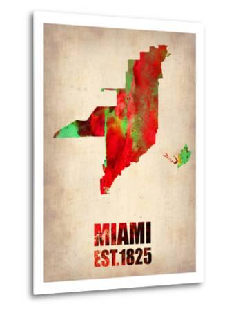 Miami Watercolor Map-NaxArt-Metal Print