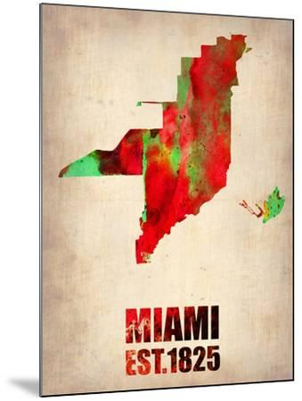 Miami Watercolor Map-NaxArt-Mounted Art Print