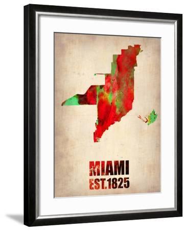 Miami Watercolor Map-NaxArt-Framed Art Print