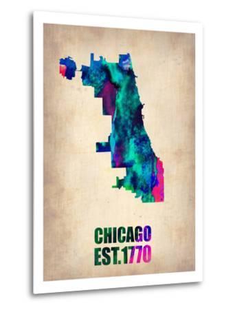 Chicago Watercolor Map-NaxArt-Metal Print