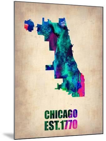 Chicago Watercolor Map-NaxArt-Mounted Art Print