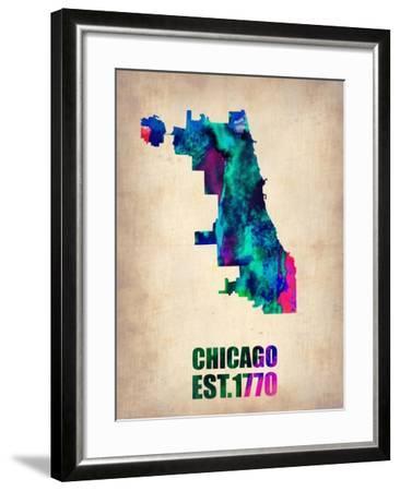 Chicago Watercolor Map-NaxArt-Framed Art Print