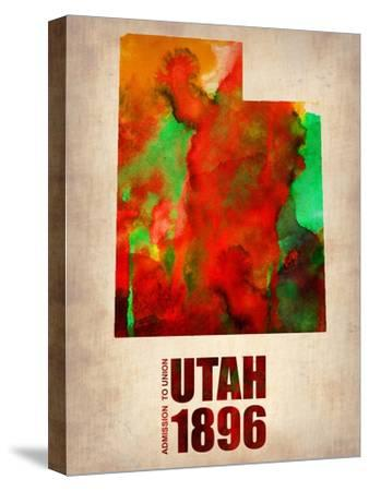 Utah Watercolor Map-NaxArt-Stretched Canvas Print