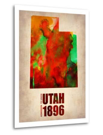 Utah Watercolor Map-NaxArt-Metal Print