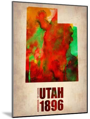 Utah Watercolor Map-NaxArt-Mounted Art Print