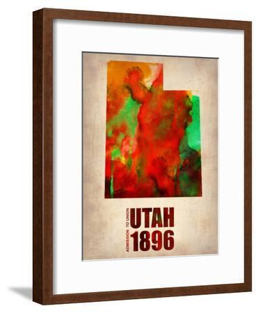 Utah Watercolor Map-NaxArt-Framed Art Print
