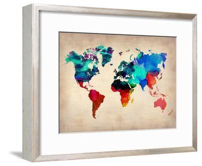 World Watercolor Map 1-NaxArt-Framed Premium Giclee Print