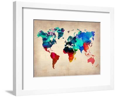 World Watercolor Map 1-NaxArt-Framed Art Print