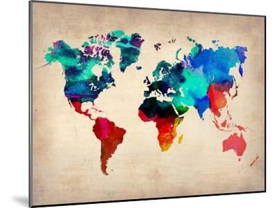 World Watercolor Map 1-NaxArt-Mounted Art Print