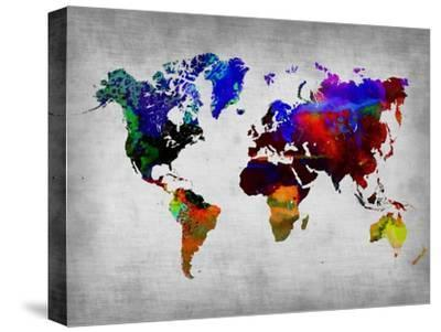 World Watercolor Map 12-NaxArt-Stretched Canvas Print