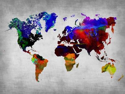 World Watercolor Map 12-NaxArt-Premium Giclee Print
