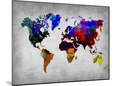 World Watercolor Map 12-NaxArt-Mounted Art Print