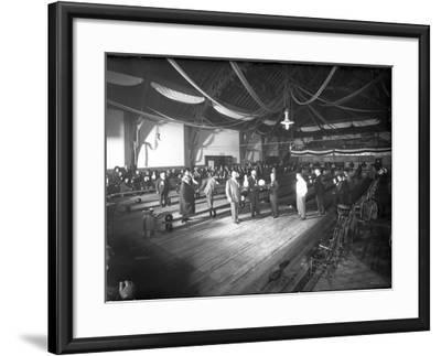 Bowlers' Opening at Bowling Alley, Madison Park, Seattle, 1909-Ashael Curtis-Framed Giclee Print