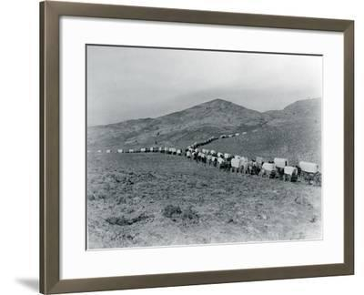 Wagon Train - Oregon Trail Wagon Train Reenactment, 1935-Ashael Curtis-Framed Giclee Print